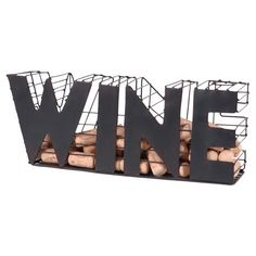 Perfect placed atop your home bar or dining room buffet, this distinctive wine cork holder showcases a typographic design. Product: Wine cork holderConstruction Material: MetalColor: BlackFeatures: Typographic designDimensions: H x W x D La Trattoria, Wine Cart, Wine Cork Holder, Dining Room Buffet, Wine Gift Baskets, Wine Decor, Metal Baskets, Joss And Main, Storage Containers