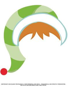 """OL267 - 8.5"""" x 11"""" - Elf Hat & Hair Holiday Printable Photo Booth Prop"""