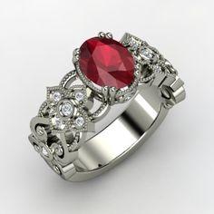 Mantilla Ring - Oval Ruby Platinum Ring with Diamond | Gemvara