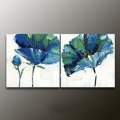 Pintada a mano Floral/BotánicoModern Dos Paneles Lienzos Pintura al óleo pintada a colgar For Decoración hogareña 2017 - $263209