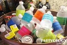 Duct Tape on Water Bottles - Tiny Town Theme 2nd Birthday on a budget with Cardboard Boxes and custom printables by Partyology {by Lisa Riley}