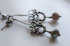 Labradorite Earrings Fine Silver Gemstone Wire Wrapped by ildikova