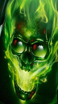 Green True Fire™ Screaming Skull - Painted by Airbrush Artist Mike Lavallee of Killer Paint - www.killerpaint.com