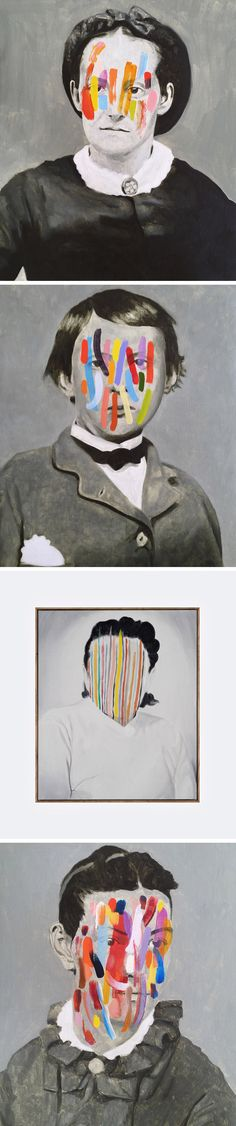 Monochromatic Portraits Obscured by Colorful Abstract Markings by Guim Tió Zarraluki