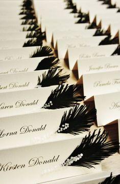 Wedding place cards Black & White feather and glass beads / rhinestones decor #WeddingIdeasBlackAndWhite