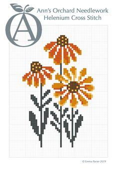 Free Helenium Flower Cross Stitch Pattern PDF available at www.annsorchard.co.uk