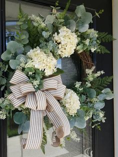 Elegant Hydrangea and Greenery Wreath Eucalyptus Year Round