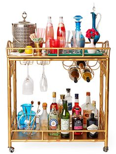 Stock a Bar Cart: Cheers all Eve-ning long with a well-stocked (and well-dressed) bar cart. Offer a selection of both alcoholic and nonalcoholic drinks. Fun garnishes, stirrers, syrups, and straws let guests play bartender -- so you don't have to!   Did You Know? To toast after sipping or with an empty glass is considered bad luck.