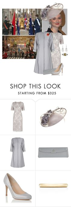 """""""(V) Attends the ANZAC Day service at Westminster Abbey with her parents and brother"""" by immortal-longings ❤ liked on Polyvore featuring JANE TAYLOR MILLINERY, Stila and Tiffany & Co."""