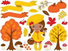 BUY 1 GET 2 FREE  Autumn Clipart  Digital Vector Fall by TanitaArt