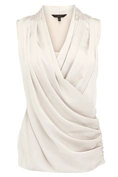 Coast Jemma Satin Draped Top and other apparel, accessories and trends. White Satin Blouse, Satin Shirt, Blouse Styles, Blouse Designs, Dress Designs, Look Chic, Ideias Fashion, Fashion Dresses, Fashion Fashion