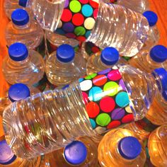 Decorated water bottles with duct tape