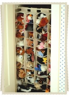 Closet Toy Organizer- we have always struggled with a way to keep the stuffed animals organized. I can't wait to try this.
