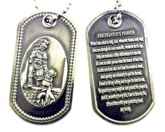 Firefighter\'s Prayer Saint Florian Brushed Steel Dog Tag by RescueTees. $12.99. Antiqued fine detail 3D sculpted dog tag. Extra thick metal for 3D relief, hand polished with jeweler\'s cloth. Includes chain. Note: Package contains one dog tag, image depicts both front and back.