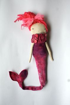 pink pink pink mermaid Little lu doll all natural by humbletoys