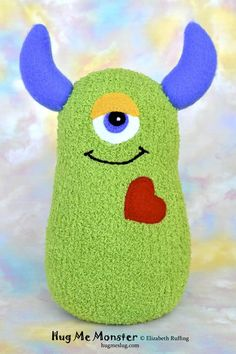 Handmade Sock Monster Doll, Plush Stuffed Art Toy, Hug Me Monster, Personalized Tag, Grass Green, Cobalt Blue, Red, 10 inch, Ready-made