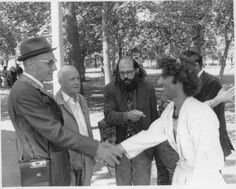 William S Burroughs, Jean Genet, Allen Ginsberg and Abbie Hoffman, Chicago August 1968.  Esquire Magazine had commissioned Genet, Ginsberg and Burroughs to write a story on the convention, Genet however had to sneak into the country from Canada because of his prior 'criminal' record in France. c. Michael Cooper.
