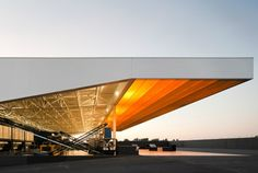 Ricardo Bak Gordon - Lagar do Marmelo (olive crushing facility), Ferreira do Alentejo Factory Architecture, Roof Architecture, Canopy Lights, Bus Station, Portuguese, Lighting Design, Entrance, Pilot, Building