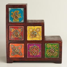 Moroccan Style Multicolor Painted Stepped Chest - World Market - I need this for my bedroom!