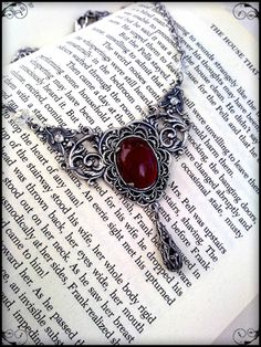 victorian gothic necklace  carnelian agate gem by ApplebiteJewelry, €48.00
