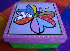 The world's catalog of creative ideas Dyi Crafts, Paper Crafts, Painted Wooden Boxes, Stick Art, Rock Painting Designs, Kindergarten Crafts, Cool Paintings, Box Design, Decoupage
