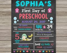 First Day of Preschool Chalkboard, Back to School Chalkboard Sign, First Day of Preschool Sign, ANY GRADE, Digital Printable, Mermaid
