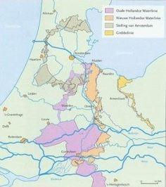 De paarse gebieden vormden de Hollandse waterlinie in het rampjaar 1672 Holland Map, Old Maps, City State, Nose Art, Historical Maps, Low Country, 17th Century, Ancestry, Languages