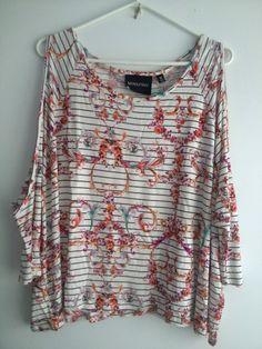 MINK PINK Stripe Floral Print Fine Tuned Raglan Style Crop Top