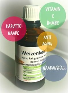 WEIZENKEIMÖL: Kein anderes Öl enthält so viel Vitamin E wie Weizenkeimöl und genau das macht es zu einem wahren Beauty-Elixier. Auch genial als Mittel gegen Haarausfall und als reparierende Pflege für kaputte Haare.