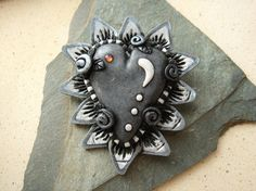 Sacred Heart Brooch 9 Charcoal by mariesegal on Etsy, $25.00