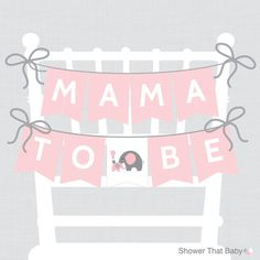 Elephant Baby Shower Chair Banner Printable Mama by ShowerThatBaby