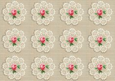 Vintage Wallpaper Roses and Doilies, large - free for personal use