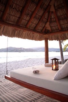 The tranquil view from a palapa at Viceroy Zihuatanejo