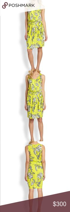 """Weekend Max Mar Lupino faux wrap Dress A bright floral print adds relaxed appeal to a sunny jersey tank-dress designed with a wide, sash-wrapped waistband that defines the silhouette. A slim front keyhole adds flirty dimension to the attractive style. 39"""" length (size Medium). Slips on over head. MaxMara Dresses Midi"""
