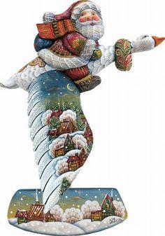 """Figura """"Gosling Glider Christmas Gosse"""" de G. Debreckt.  todas las figuras están pintadas a mano y realizadas en madera. Esta pieza corresponde a una serie limitada de 900 piezas (nº57/900). Todas las figuras tienen su caja original con sus correspondientes certificados de garantía."""