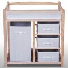 Wick -hoitopöytä kangaskoreilla, 69,95€. Funktionaalinen ja halpa puusta tehty hoitopöytä laatikoilla ja korilla. Tilaa säästävä pöytä, jonka monikäyttöiset irtolaatikot auttavat vaikka pyykkäämisessä. Ilmainen toimitus! #hoitopöytä