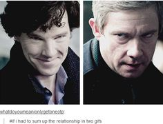 Summing up their relationship in two gifs