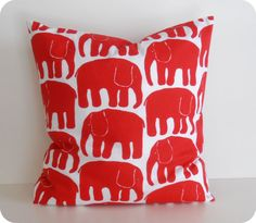 20x20, Decorative Pillow Cover, Red Elephants, Pillow case for Throw Pillows, Accent Pillows, Floor Cushions by MyCozyStore