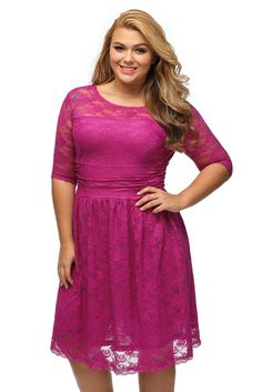 Prix: €18.13 Robes Grande Taille Rosy Trois Quarts Manches Dentelle Pas Cher www.modebuy.com @Modebuy #Modebuy #Rose #mode #me