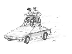 man and woman ride bicycles that are in a bike rack on top of a moving car - Cartoon