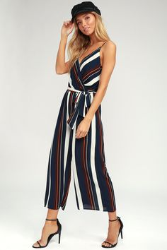 You'll be absolutely irresistible in the Power of Love Navy Blue Strapless Jumpsuit! Strapless jumpsuit with a fluttering tier, hidden V-bar, and no-slip strips. Dressy Rompers And Jumpsuits, Blue Jumpsuits, Cute Rompers, Jumpsuits For Women, Strapless Jumpsuit, Striped Jumpsuit, Wrap Jumpsuit, Blue Stripes, Navy Blue