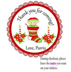 Set of 12 Personalized Stickers Tags Favors, Stockings Socks Christmas Reindeer Slippers Socks --By Beauty and Brains Girls Party Favor Labels Tags On Amazon-PLEASE LEAVE THE name YOU WANT ON YOUR STICKERS- -Please note that missing information will add to the turnaround time. BeautyAndBrainsGirls http://www.amazon.com/dp/B011ELZGSO/ref=cm_sw_r_pi_dp_N3Svwb1P960NH