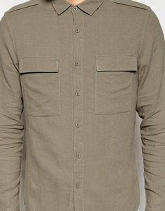Immagine 3 di ASOS - Camicia militare in misto lino color pietra a maniche lunghe vestibilità classica