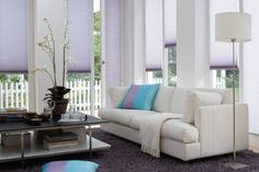 Luxaflex Duette Shades. Love the lavender shade of the blinds!
