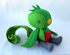 Quetzal Bird Wool Felt Soft Sculpture Art Doll - Tototl, Open Edition No. 006. $135.00, via Etsy.
