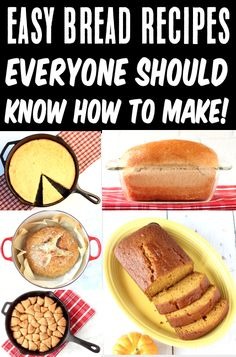 Homemade Bread Recipes! Easy Breads for Breakfast, Sandwiches, Dinner and Dessert! You'll become the superstar of your kitchen once you learn how to make these delicious breads! Go grab the recipes and give some a try this week! Brunch Recipes, Easy Dinner Recipes, Dinner Ideas, Easy Meals, Beginners Bread Recipe, Baking For Beginners, Tasty Bread Recipe, Bread Recipes, Baking Recipes
