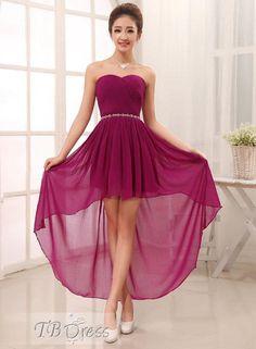 Most popular Sweetheart Asymmetry Lace-Up Rhinestone Sashes Bridesmaid Dress