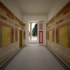 Villa reconstruction 2, Pompeii, Italy on Behance ~ View of room C, the entry to the villa, facing south into the entry courtyard.