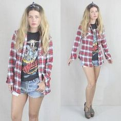 vintage 80's grunge plaid outfit