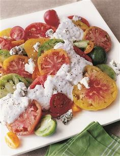 HEIRLOOM TOMATOES WITH BLUE CHEESE DRESSING!